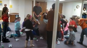 Pastor Jason leads fun with Kids' Club Participants